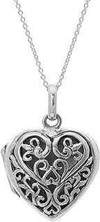 Silverly Collar Mujeres en Plata de Ley .925 Colgante Filigrana Amor Corazón Medallón Abrible, 46cm