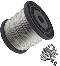 Vinyl Coated Wire Rope,1/16 Inch Diameter, EFGTEK Stainless Steel 304 Wire Cable,328 Feet and 50 PCS Aluminum Crimping Loop (7x7 Strand Core)