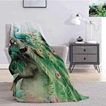 Luoiaax Peacock Commercial Grade Printed Blanket Summer Flower Fantasy Garden in Vibrant Colors Painting Effects Nature Art Print Queen King W70 x L90 Inch Green Fuchsia