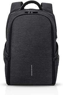 Anti-Theft Mochila Hombres Laptop Bolsa Estudiante Outdoor Viaje Multifuncional Rucksack Impermeable Poliéster Negro