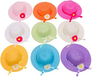 Girls Tea Party Hats for Little Kids Child Babe Costume Dress Up Playtime Birthdays Easter Party Supplies Decorations Accessories,Includes 9 Different Colors of Daisy Flower Sun Hats