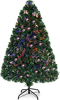 Goplus 4ft Artificial PVC Christmas Tree Pre-Lit Fiber Optic Tree with Metal Stand (4 FT)