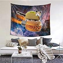 Gato Acostado En La Hamburguesa En La Galaxia Wall Hanging Tapestry Art Home Decorations for Living Room Bedroom Dorm Decor in 60 X 51 Inches