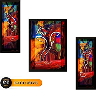 Nobility Ganesha Framed Painting - Wall Art Statue - Set of 03