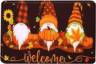 Guoofu Fall Welcome Gnome Doormat, Pumpkin Gnome Door Mat Indoor Outdoor, Autumn Greeting Maple Leaves Floor Mat Pumpkin D...