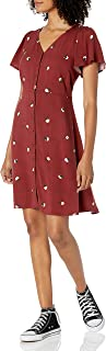 Marchio Amazon - Goodthreads - Fluid Twill Button-front Fit-and-flare Dress, dresses Donna