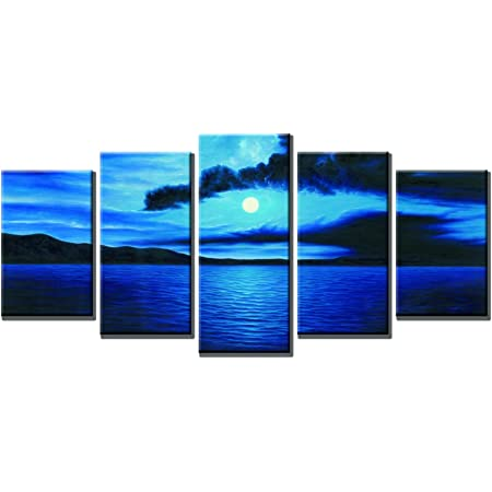 Wieco Art Dark Blue Ocean White Sun Modern 5 Piece Wrapped Giclee Canvas Prints Contemporary Seascape Artwork Beach Pictures Paintings On Canvas Wall Art For Living Room Bedroom Home Decorations Posters