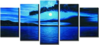 Wieco Art Dark Blue Ocean White Sun Modern 5 Piece Wrapped Giclee Canvas Prints Contemporary Seascape Artwork Beach Pictures Paintings on Canvas Wall Art for Living Room Bedroom Home Decorations