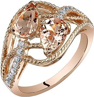 14K Rose Gold Two Stone Morganite Ring Pear Shape 1.50 Carats Sizes 5-9