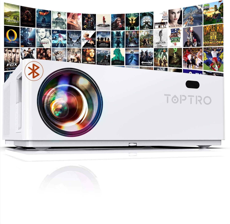 Proyector Bluetooth 1080P, TOPTRO 7500 Lúmenes Proyector Full HD 1080P Soporta 4K , Pantalla Gigante 350