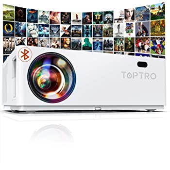 """TOPTRO Bluetooth Projector,Native 1080P and 350"""" Display,7200L Video Projector,Support 4K,Zoom&±50°4D Keystone Correction,Home Theater Projector Compatible with Phone/TV Stick/PC/USB/PS4/DVD"""