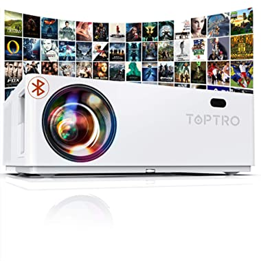 """TOPTRO Bluetooth Projector,Native 1080P and 350"""" Display,7200 Lux Video Projector,Support 4K,Zoom&±50°4D Keystone Correction,Home Theater Projector Compatible with Phone/TV Stick/PC/USB/PS4/DVD"""