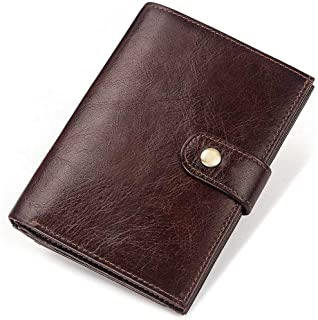 Leather Bag Mens Anti-Theft Brush Anti-Magnetic Multifunctional Wallet Leather Head Layer Leather Buckle Pocket Wallet Fashion Passport Bag High Capacity (Color : Brown, Size : S)