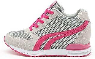 AONEGOLD® Baskets Compensées Femmes Chaussure de Sport Gym Fitness Sneakers Basses Compensées 7 cm Jogging Voyage