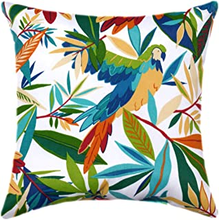 Tropical Palm Leaves Parrot Birds Decorative Designer Green White Turquoise Outdoor Tucuman Pillow Cover Patio Outdoor Cus...