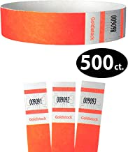 """Tyvek Wristbands - Goldistock Select Series Day-Glow Neon Orange 500 Count - ¾"""" Arm Bands - Paper-Like Party Armbands - Fan-Folded (Better Security) - Heavier Tyvek Wrist Bands = Upgrading Your Event"""