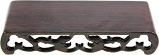 Oriental Furniture Chinese Black Rosewood Solid Mahagony Ebony Wood Display Stand Wooden Base Rectangle Rectangular Shape Pedestal with Carved (S 15cm5.6cm2.8cm)