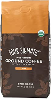 Mushroom Ground Coffee by Four Sigmatic, Organic and Fair Trade Coffee with Lions Mane,..