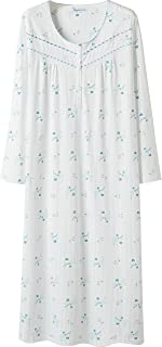 Keyocean Nightgowns for Women 100% Cotton Blue Floral Print Long Sleeves Long Nightgowns White