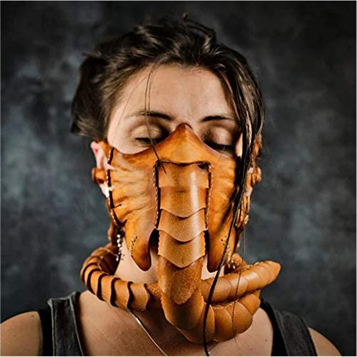 Halloween Scorpion Mask Horror Worm Facehugger Mask Full Face Alien Claws Headgear Costume Props for Cosplay Party Masquerade,Beige