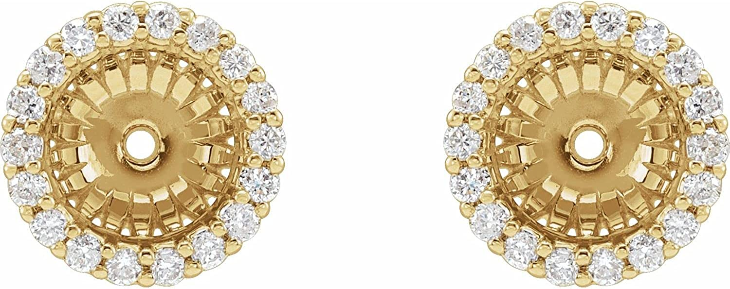 14K Yellow Gold 1/8 CTW Diamond Jackets Earring with 6.1 mm ID for Women