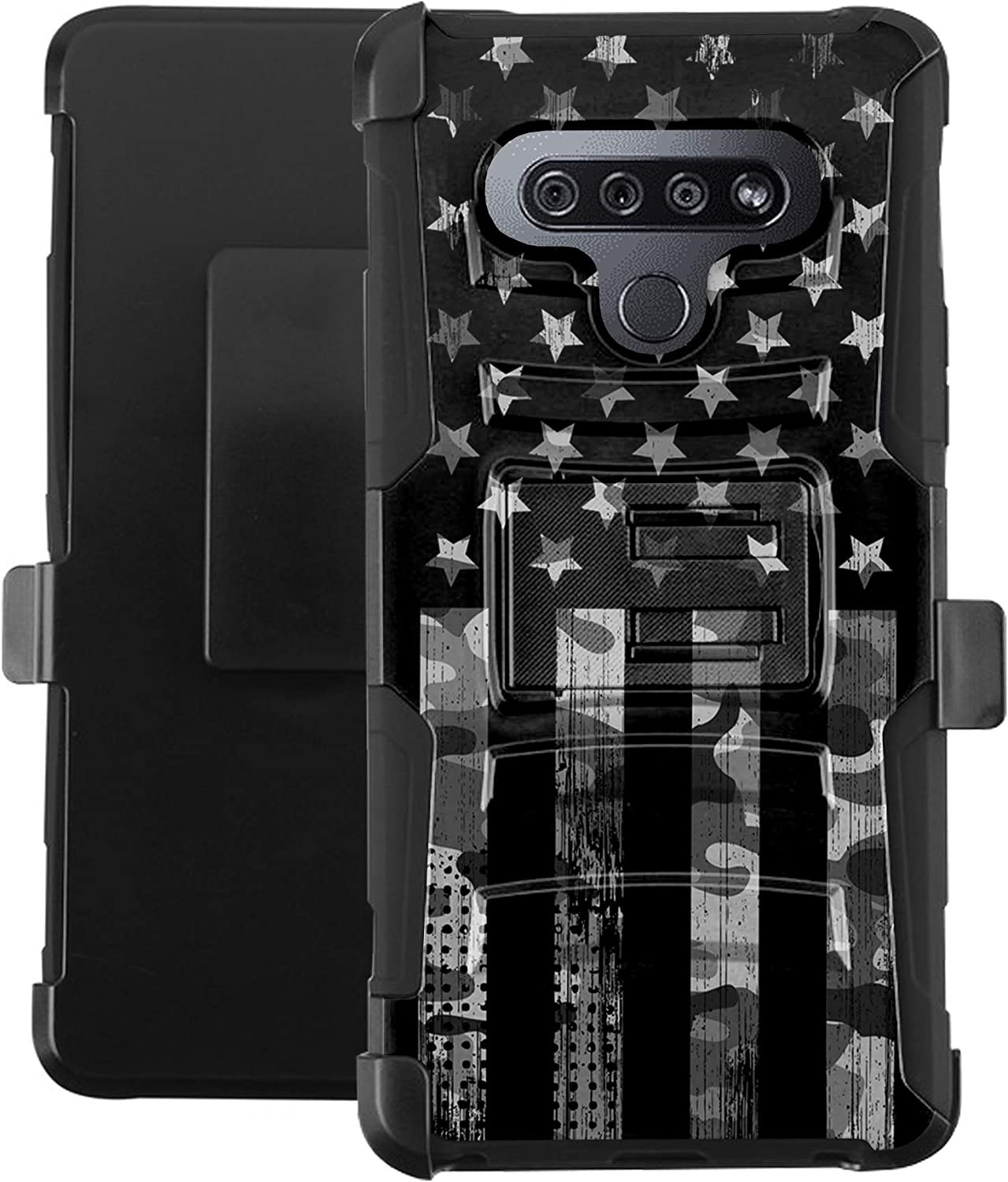 DALUX Hybrid Kickstand Holster Phone Case Compatible with K51 / Reflect- Gray Camo Half US Flag