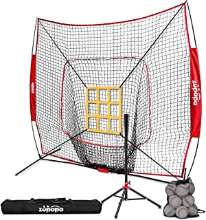 Zupapa 12 Pack Baseballs & Tee & 7x7 Feet Baseball Softball Hitting Pitching Net Practice Set, Upgraded Vivid Strike Zone, Practice Hitting, Pitching, Batting and Catching for All Ages