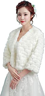 NOMSOCR Women's Faux Fur Cloak Coat Cape Wedding Shawl Wraps for Evening Party Dress