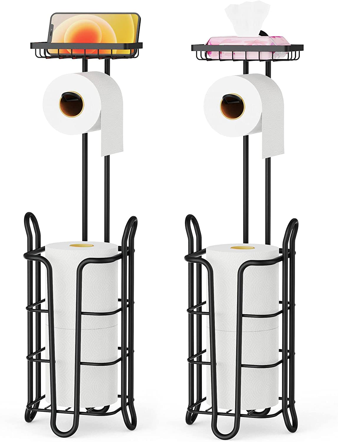 Toilet Memphis Mall Paper Holder Mail order cheap Stand Tidyway 2 Pack Standing Free Metal To