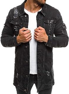 FSSE Mens Button Down Jean Ripped Destroyed Mid Length Denim Trucker Jacket Coat