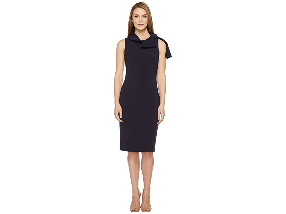 Badgley Mischka Shawl Collar Day/Occasion Dress (Navy) Women