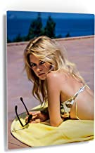 Smile Art Design Brigitte Bardot Lying Nude on The Beach and Waves Splashing her Naked Body Colored Wall Art Metal Print Sexy French Icon Metal Decor Wall Decor Ready to Hang - 30x20