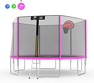 Kangaroo Hoppers 15 14 12 FT Trampoline with Safety Enclosure Net, Basketball Hoop and Ladder - 2019 Upgraded - Kids Basketball Hoop Trampoline - TUV and ASTM Tested - Multiple Color Choices