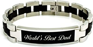Stainless Steel Inspirational Dad Engraved Rubber ID Bracelet