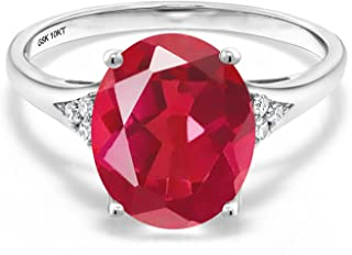 Gem Stone King 3.67 Ct Oval Last Dance Pink Mystic Quartz White Diamond 10K White Gold Engagement Ring