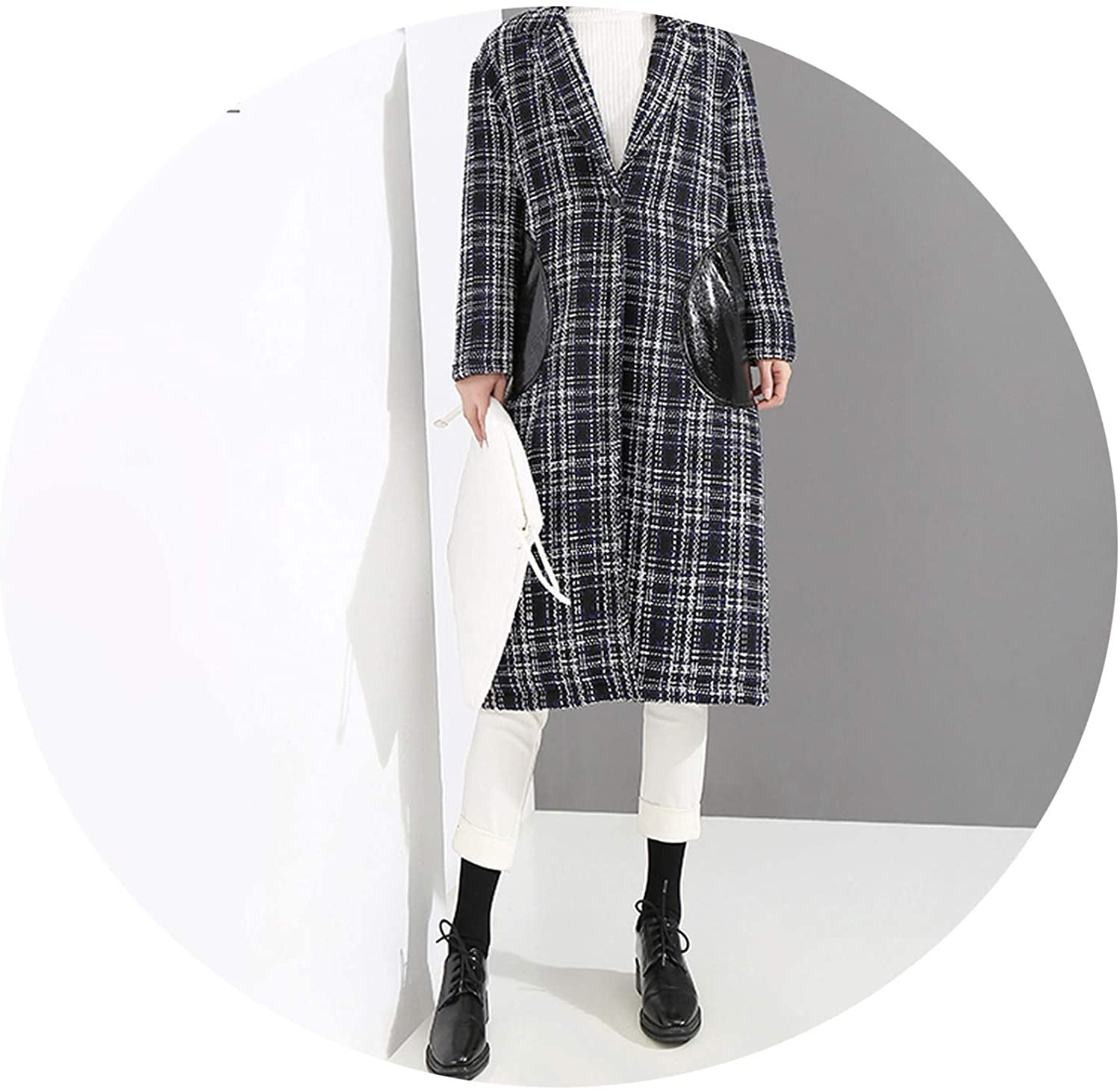 AllAboutUs Women Long Black Blend Coat with Pockets Lapel Plaid Casual Wear Long Jacket Overcoat 4097