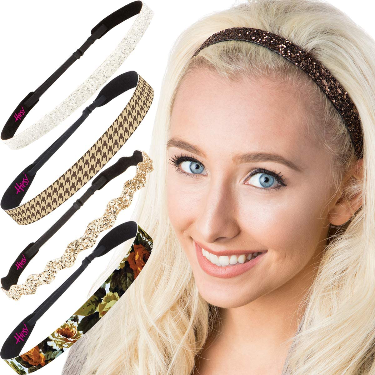Hipsy Women's Adjustable NO Slip Houndstooth Wide Fashion Headband Multi Packs