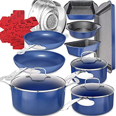 19-Piece Ceramic Non-Stick Cookware Set, Induction Pots and Pans Sets, Marble Coating Bakeware Sets