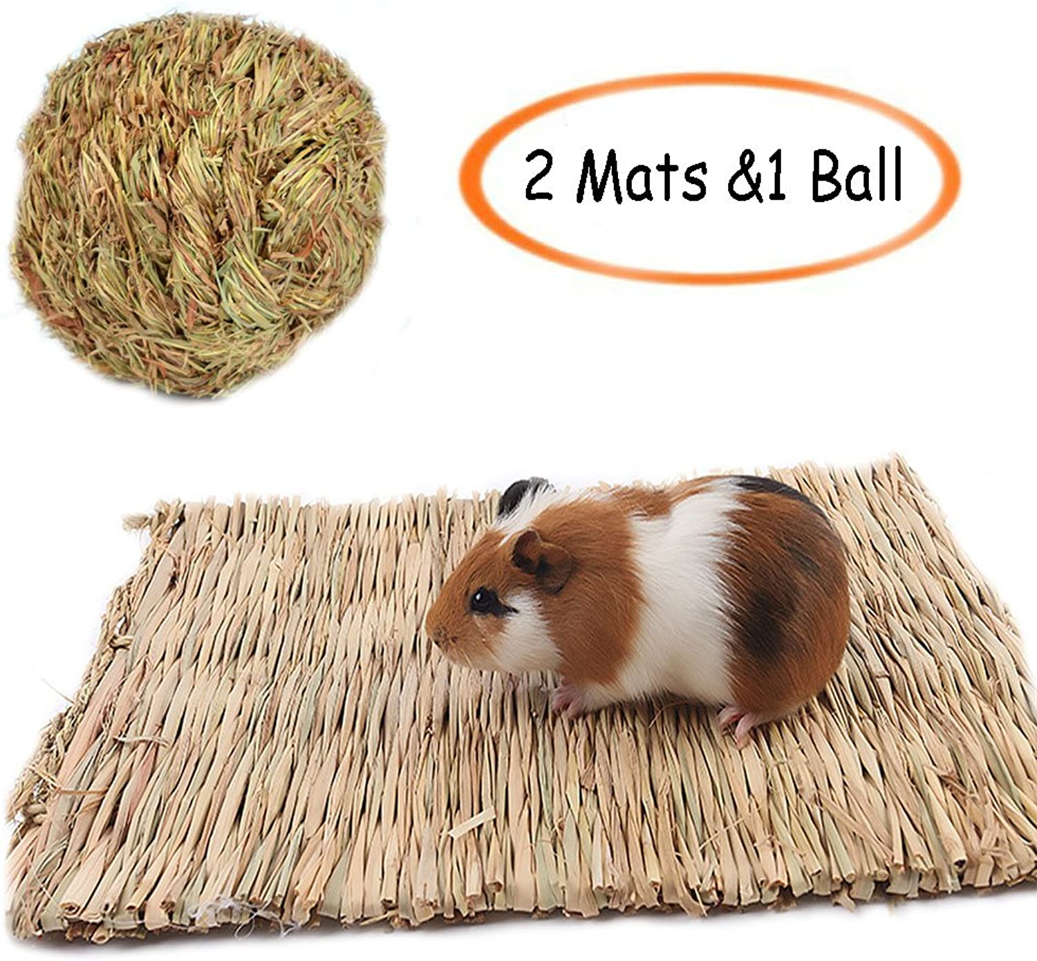 Grass Mat,Woven Bed Mat for Small Animal,Chew Toy Bed Play Ball for Guinea Pig Parred Rabbit Bunny Hamster (Pack of 3) (2Grass Bed(Large)+1ball)