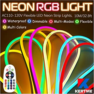 KERTME Neon Led Type AC 110-120V LED NEON Light Strip, Flexible/Waterproof/Dimmable/Multi-Colors/Multi-Modes LED Rope Ligh...