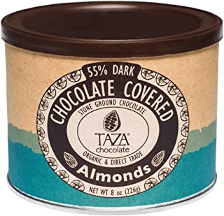 Taza Chocolate Organic Chocolate Covered Almonds, 55% Dark Chocolate, 8 Ounce (Pack of 1), Vegan