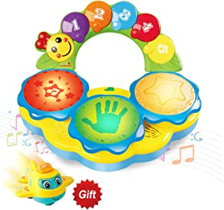 HOMOFY Baby Toys 6 to 12 Months Portable Musical Drum Piano Musical Instrument Early Education Music/Lights/Funny Sounds Toys for 12 3 4 Year Old Boys Girls Toddlers Kids- Come with a Mini Airplane
