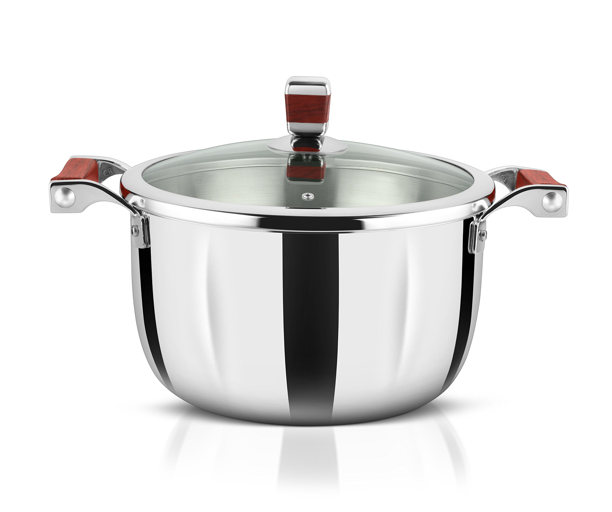 AVONWARE WholeBodyClad Stainless Steel 3.2 Liter Triply Casserole Cooking Pot with Glass Lid - 20cm