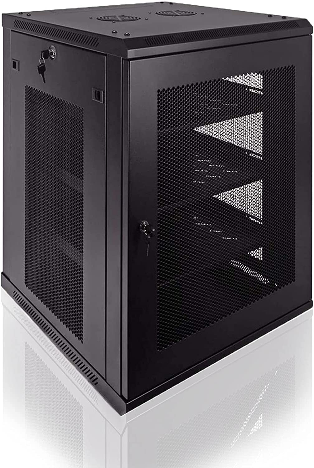 FerruNet 15U Luxury IT Wall Mount Cabinet Chassis 24 inch deep Server Network Rack with Locking Perforated Door, Wall-Mounted Equipment, ApplytoSmall Office, Home Office.
