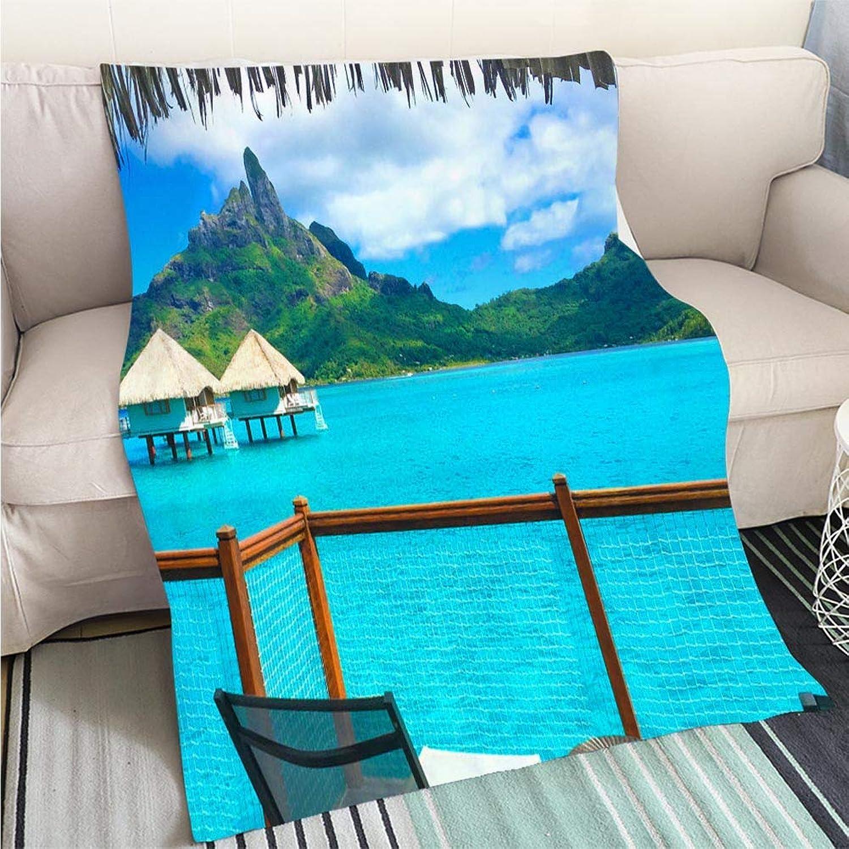BEICICI Luxury Super Soft Blanket Bora Bora Tahiti Sofa Bed Bed Bed
