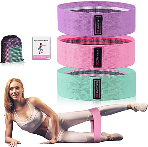 Strength Booty Fabric Bands, Xcellent Global 3 Pcs Non-Slip Fabric Resistance Bands for Butt, Leg & Arm, Circle Worko...