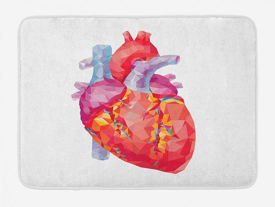 思い出既に改善する解剖バスマット、血液学医療モザイク生物学パターンをポンピングポリゴンスタイル、人間の心臓、滑り止めバッキングとぬいぐるみバスルームインテリアマット、40 x 60 CMインチ、マルチカラー [並行輸入品]