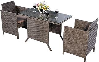 COSTWAY Conjunto Muebles de Ratán para Comedor Salón Jardín Terraza 1 Mesa y 2 Sillas para Exterior y Interior
