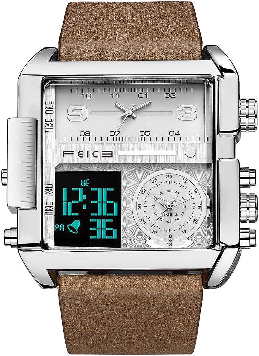 Reloj de Cuarzo Cuadrado FEICE Relojes de Cuarzo Japones para Hombres Reloj de Pulsera Original para Hombres Reloj Deportivo Multifuncional FK030