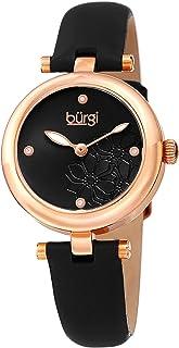 Burgi WoMen's Quartz Watch, Analog Display And Leather Strap